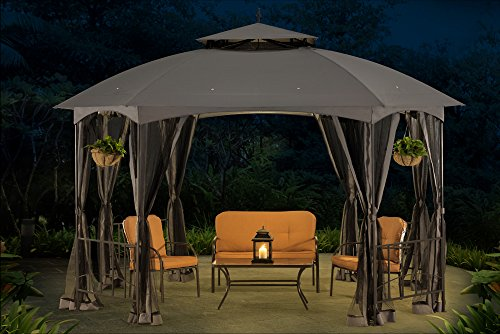Sunjoy L-GZ660PST Large Capri Gazebo with Netting, 12' by 10', Gray