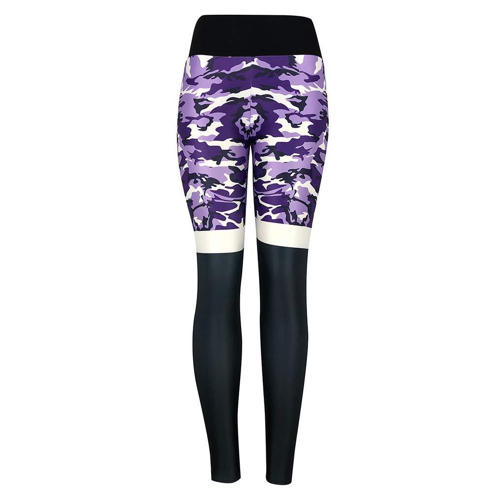 NUWFOR Women's Fashion Camouflage High Waist Pleated Sports Gym Yoga Athletic Pants(Purple,M US Waist:26.0-29.9'')