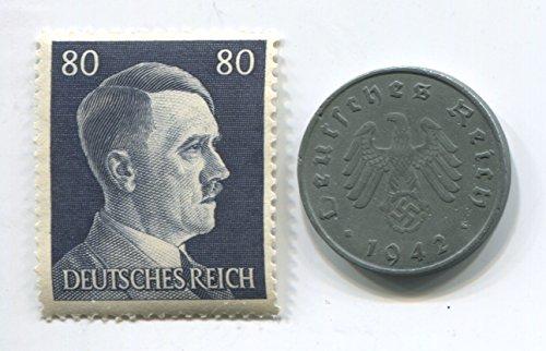 Rare Nazi Swastika 10 Reichspfennig German Coin World War Two WW2 with Jumbo Black Hitler Head Stamp - Mnh Coin Stamp