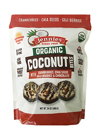 - Jennies Organic Coconut Bites, Gluten Free, Peanut Free, Non GMO (Goji, 24 Ounce)