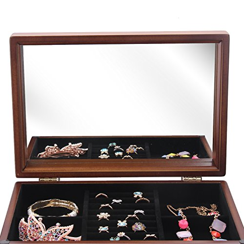 Large Wooden Jewelry Box Necklace Ring Armoire Crate on Dresser Chest Organizer Armoire11.6 inch x7.87 inch x11.2 inch by BELLAMORE GIFT (Image #6)