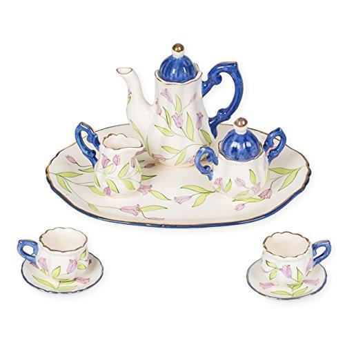 Graceful Porcelain - Lavender Tulips Graceful Stems Design Porcelain Children's 10 pc. Large Tea Party Set