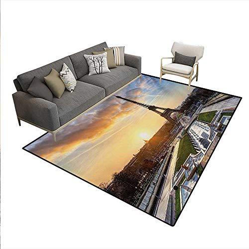 Carpet,Sunrise in Paris The Eiffel Tower Holidays Getaways Scenic Print,Customize Rug Pad,Blue Yellow Coconut,6'x9'