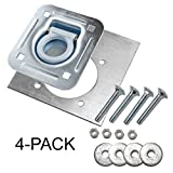 4-pack - Recessed Pan D-ring Trailer Tie Downs (6,000 Lb. Capacity) and Heavy Backer Plates, Including Mounting Hardware (Complete Set: 16 Carriage Bolts, Washers and Nylon Lock Nuts)