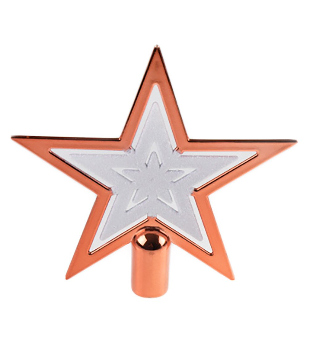 Sparkling White and Copper Shatter Resistant Plastic 6.5 x 6.5 Perfect for Any Size Christmas Tree Clever Creations Copper Christmas Tree Topper Star Festive Christmas Decor