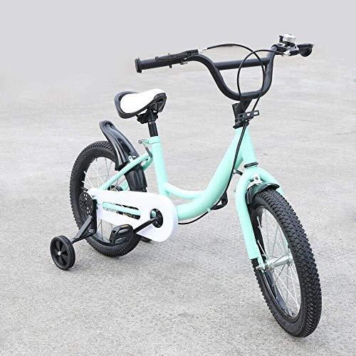 Kinderfiets met steunwielen, uniseks, voor kinderen, fiets, roze/groen, koolstofstaallegering, dubbel remsysteem