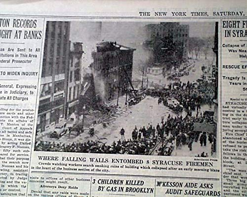 (COLLINS BLOCK FIRE Syracuse NY New York FIREFIGHTERS Firemen Dead 1939 Newspaper THE NEW YORK TIMES, Feb. 4, 1939)