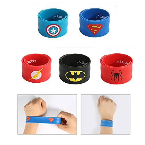 Ecparty Superheros Cape and Mask Matching Slap Bracelet for Kids Costume and Dress up (5Packs)