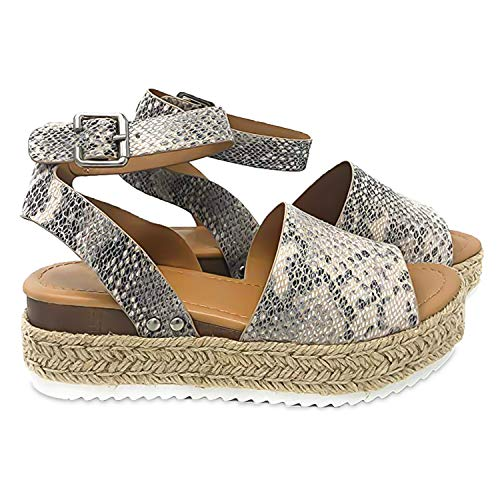 - Joywow Women Sandals Casual Espadrilles Sandals Open Toe Platform Strappy Studded Wedge Buckle Ankle Strap Mid Heel Sandals (10 M US, A Grey Women Sandals)