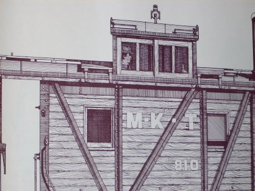 Vintage 1975 Line Drawing Poster - Caboose: Missouri - Kansas - Texas (M-K-T) Class NE, Road Caboose. Buildt 1930 in M-K-T Shops at Parsons, Kansas as one of 25. 31.5