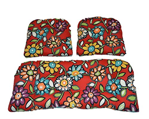 Resort Spa Home Decor 3 Piece Wicker Cushion Set – Blue, Green, Purple Red Wilder Contemporary Floral Indoor Outdoor Fabric Cushion for Wicker Loveseat Settee 2 Matching Chair Cushions