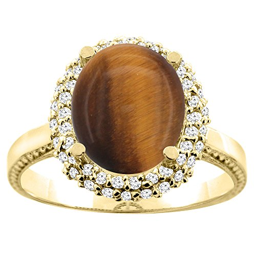 (10K Yellow Gold Natural Tiger Eye Double Halo Ring Oval 10x8mm Diamond Accent, size)