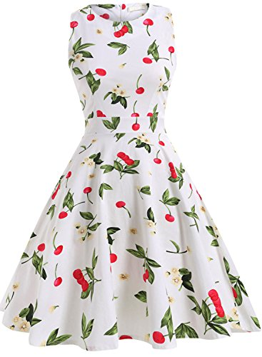 Purple Floral Dress - OTEN Women's Vintage Tea Dress Sleeveless Floral 1950s Cocktail Dressing, X-Large, White+Cherry