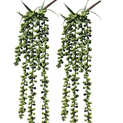 2 Pcs Hanging Artificial Succulent Plants Hanging Bean Leaf Picks 28 inch Hanging Basketplant, Lover Tears Plants Artificial Hanging String of Pearls Plant Fake Succulent, String of Pearls