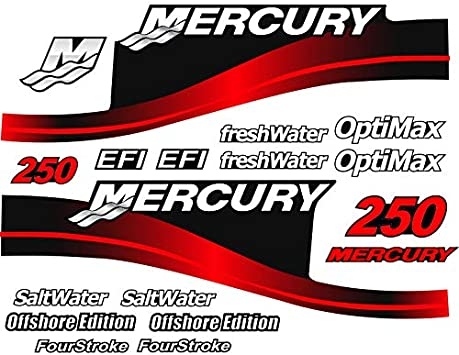 "New Mercury Outboards White Mercury Lettering with Black Mercury Logo 24/"" Decal"