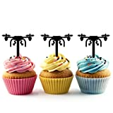 TA0052 Drone Silhouette Party Wedding Birthday Acrylic Cupcake Toppers Decor 10 pcs