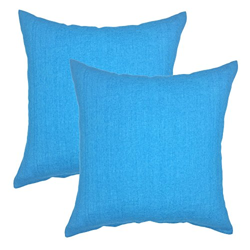 Cushion Blue Cotton Cover - YOUR SMILE Pure Square Decorative Throw Pillows Case Cushion Covers Shell Cotton Linen Blend 18 X 18 Inches, Pack of 2 (Blue)