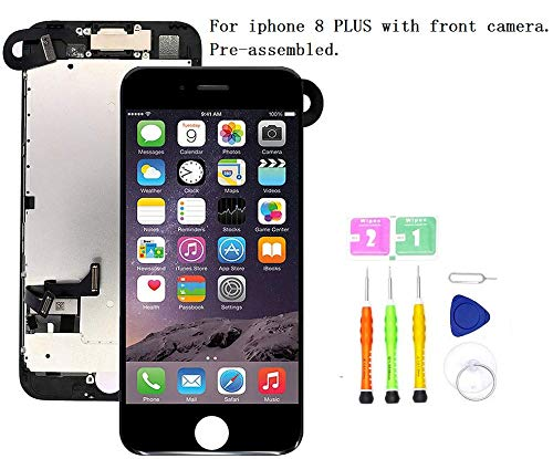 Screen Replacement Compatible with iPhone 8 Plus Full Assembly - LCD 3D Touch Display Digitizer with Front Camera, Ear Speaker and Sensors, Fit Compatible with All iPhone 8 Plus Black (I Phone Speaker Replacement)