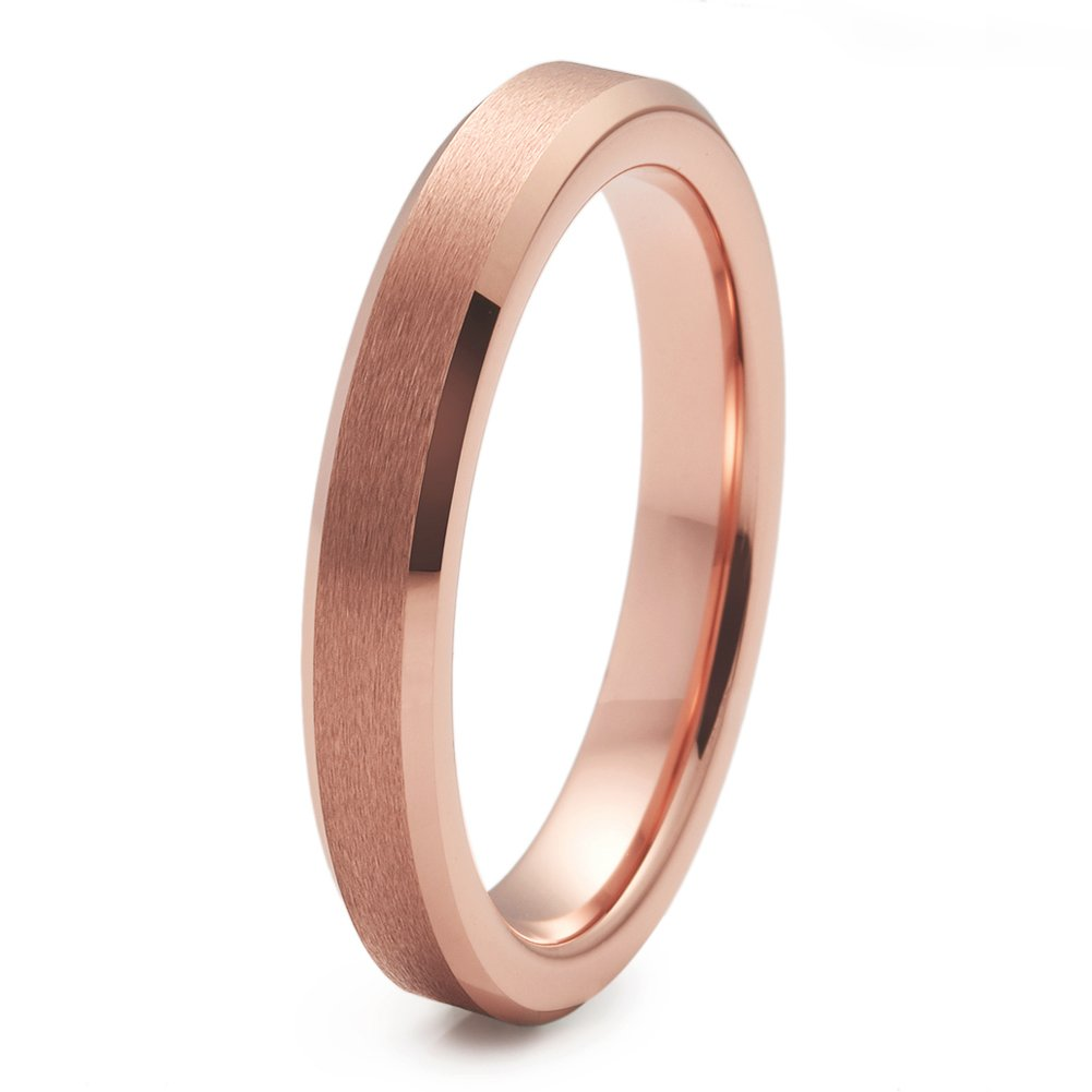 NaNa Chic Jewelry 3mm Matte Finish Tungsten Carbide Ring Rose Gold Plated Wedding Band Beveled Edge(8)