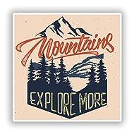2 x Mountains Explore More Vinyl Stickers