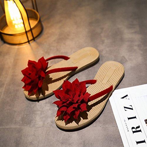 Flower Flip Flops Flat Red Style Shoes Heel Boho Thongs Slip Women ACMEDE Big Anti SYqwZZ