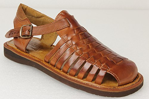 Men's 450 Rustic Cognac All Real Leather Mexican Buckle Huaraches Closed Toe 7 by Cowboy Professional