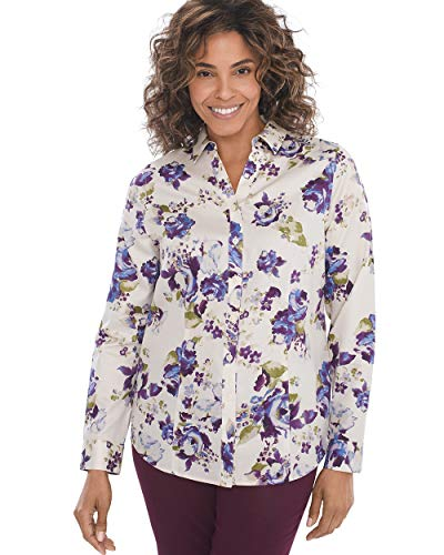 (Chico's Women's No-Iron Sateen Floral Shirt Size 4 S (0) Multi)