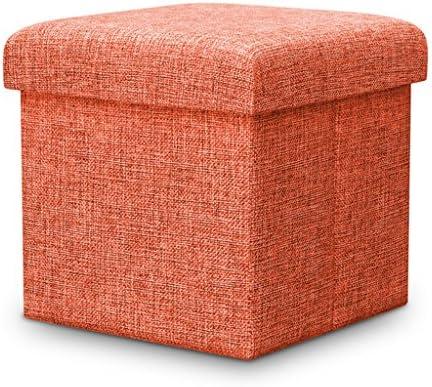 折りたたみスツール収納ボックスホームシンプルなデザイン多機能シューズベンチ強力な負荷ベアリングスタイリッシュで美しいストレージスツール (Color : Orange, Size : 30*30*30cm)