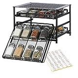 NEX 3-Tier Spice Rack 24-Bottle Standing Spice Drawer Storage Organizer for Kitchen Cabinet Countertop Black