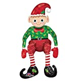 73cm Sitting Elf Christmas Balloon Decoration Table Fireplace Santa's Pixie Helper Supershape Centerpiece Office Party Inflatable