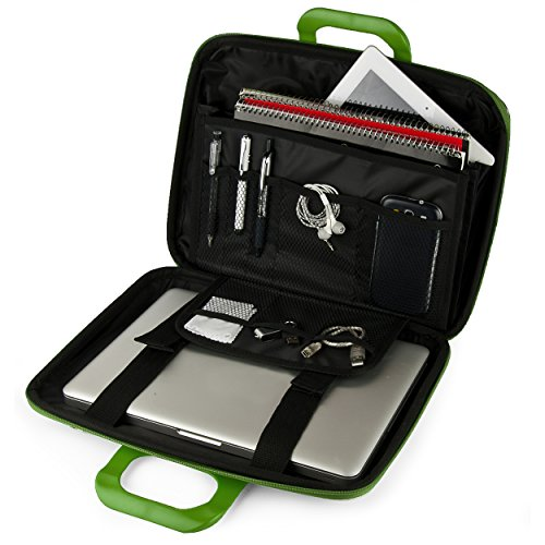 "Vegan Leather Philip Cube Carrying Green Shoulder Bag w/ Handles For HP 13.3"" - 14"" Laptop Ultrabook 2in1 Tablet Computers"