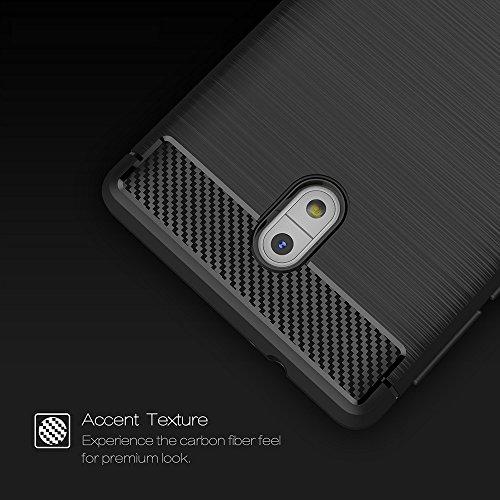 Tuff-Luv Gebürsteter Carbon-Faser-Art TPU schützender shockproof rückseitiger Abdeckungs-Fall für Nokia 9 - Schwarz