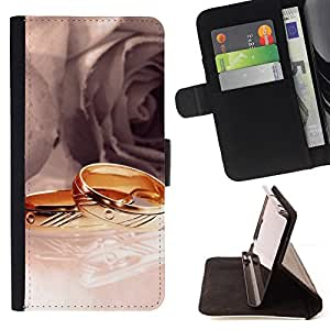 DEVIL CASE - FOR Samsung Galaxy S5 Mini, SM-G800 - Rings and Roses - Style PU Leather Case Wallet Flip Stand Flap Closure Cover