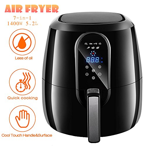 5.5 Quart Electric Power Air Fryer Cooker, 1800W 5.2L Extra Large Capacity Non-Stick Coating Digital Air Fryer XL with LCD Screen and 7 Preset Settings (US STOCK)