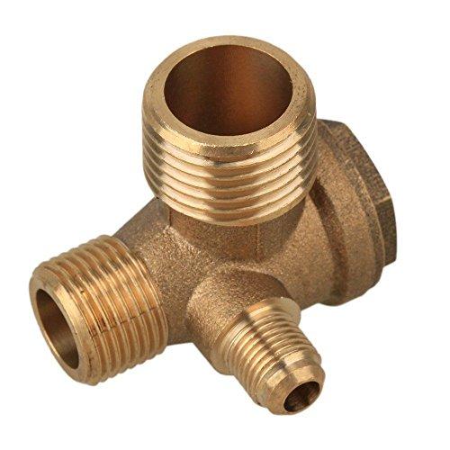 Preamer 3-Port Brass Male Threaded Air Compressor Check Valve Central Pneumatic ()