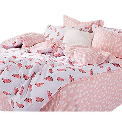 KFZ Bed Set Bedding Set Cotton Duvet Cover Fitted Sheet Pillow Covers Twin Queen Sheets Set CJF No Comforter Fruit Pie Pineapple Cactus Design for Kids (Water Melon, White, Queen 78