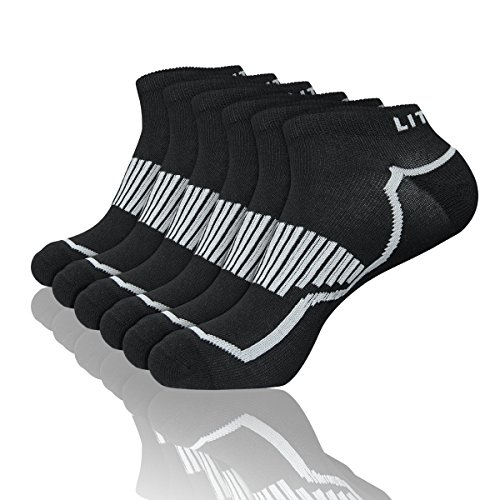 LITERRA Men's 6 Pack Running Athletic Cushion Low Cut Socks Performance No Show Sport Sock - Pack By Running Six