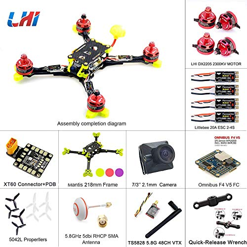 LHI 218mm Mantis218 2019 Newest Race Quad ARF 218mm Carbon Fiber Frame+ Omnibus F4 V5 Flight Controller + LHI DX2205 2300KV Motor + Littlebee 20A ESC FPV Quadcopter Upgrade Version of LHI 220