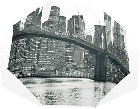 LASINSU Regenschirm,Brooklyn Brücken Sonnenuntergang mit berühmtem Stadtbild Manhattans amerikanisches New York City,Faltbar Kompakt Sonnenschirm UV-Schutz Winddicht Regenschirm
