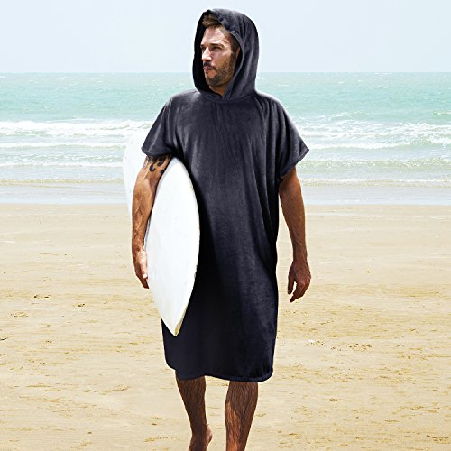 - Tirrinia Surf Beach Wetsuit Changing Towel with Hood, Super Absorbent Microfiber Bath Robe Poncho for Men Women Bath/Shower/Pool/Swim, Black