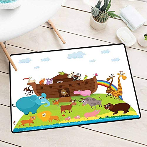 NineHuiTechnology Non-Slip Mud Doormat, Cartoon, Various Safe Animals The Two of Every Kind Boarding The Ark Clip Art Design Print, Multicolor, 18