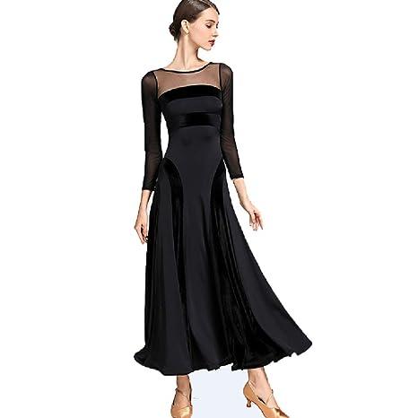 ec4b08789615 MoLiYanZi Maniche Lunghe Vestiti da Sala da Ballo per Donne Velluto Maglia  Moderno Vestito Nazionale Standard