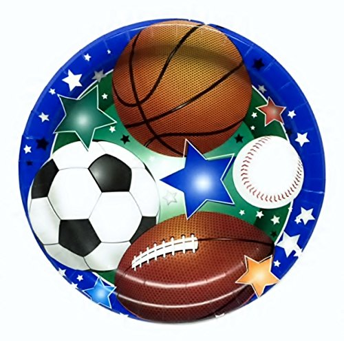 Party Kit for 32 Sports Theme Plates, Napkins, Table Cover, Cups, Cutlery, Decoration