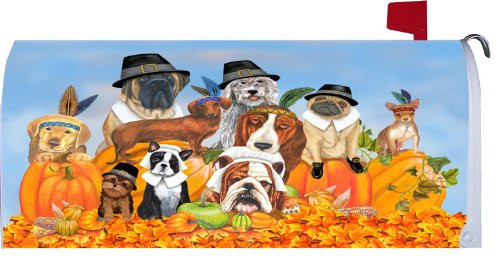 Thanksgiving Dogs Magnetic Mailbox Cover