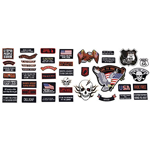 Live To Ride 42pc Embroidered Motorcycle Patch Set]()