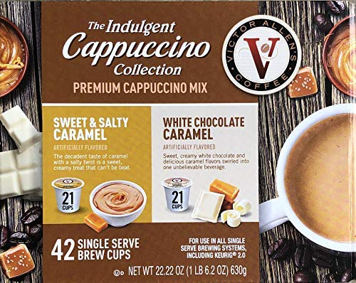 The Indulgent Collection Premium Mix, WHITE CHOCOLATE CARAMEL AND SWEET & SALTY CARAMEL Cappuccino 42 Cups, Single Serve Brew Cups, Keuring 2.0.