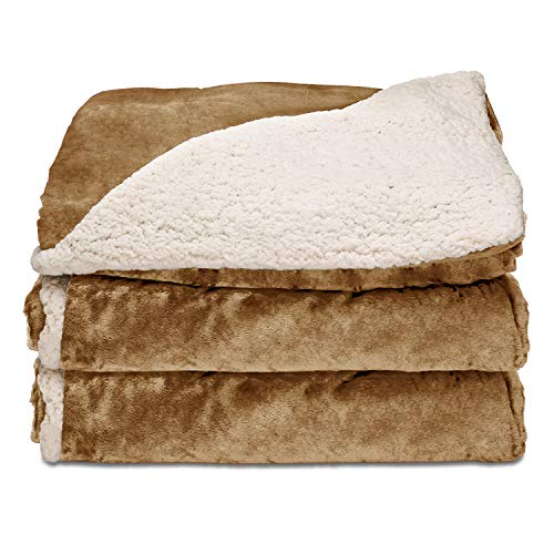 Electric Warming Throw Blanket - Sunbeam Heated Throw Blanket | Reversible Sherpa/Royal Mink, 3 Heat Settings, Honey