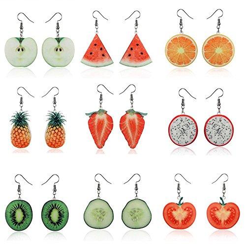 - Women's Earrings, 1Pair Women Large Fruit Dangle Earring Strawberry Pineapple Long Drop Jewelry Fish Hook