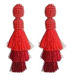 Bohemian Beaded Tassel Earrings Tiered Layered Statement Fringe Drop Earring (Red)