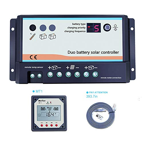 EPEVER 20A Dual Battery Solar Charge Controller, 12V 24V Auto Fit for RVs Or Two Separate Solar Charging System,DB-20A Controller+MT-1 Remote Controller